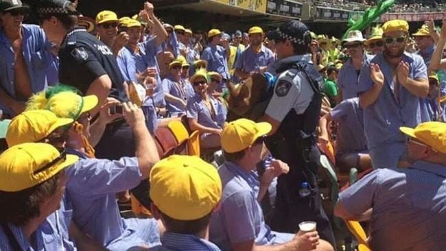 The pig is carried out of the Gabba by police. Pic: Supplied