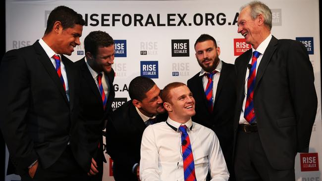 Newcastle Knights forward Alex McKinnon with teammates Dane Gagai, Korbin Sims, Willie Mason, Darius Boyd and coach Wayne Bennett during a press conference at ANZ Stadium for the RiseForAlex round of NRL. pic. Phil Hillyard