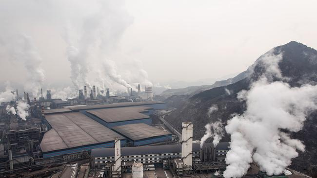 The Qian'an steelworks of Shougang Corporation in Tangshan, China.