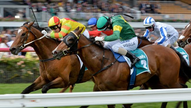 Lankan Rupee arrives to edge out Snitzerland on Oaks Day. Picture: Jay Town