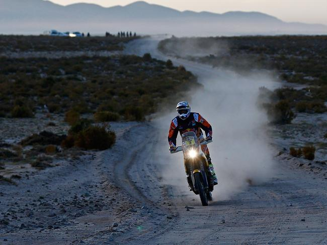 Toby Price of Australia on his way to victory in the sixth stage of the Dakar Rally.