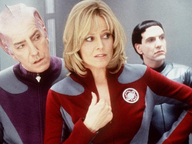 Beloved actor dies ... Actor Sigourney Weaver with Alan Rickman in scene from film Galaxy Quest.