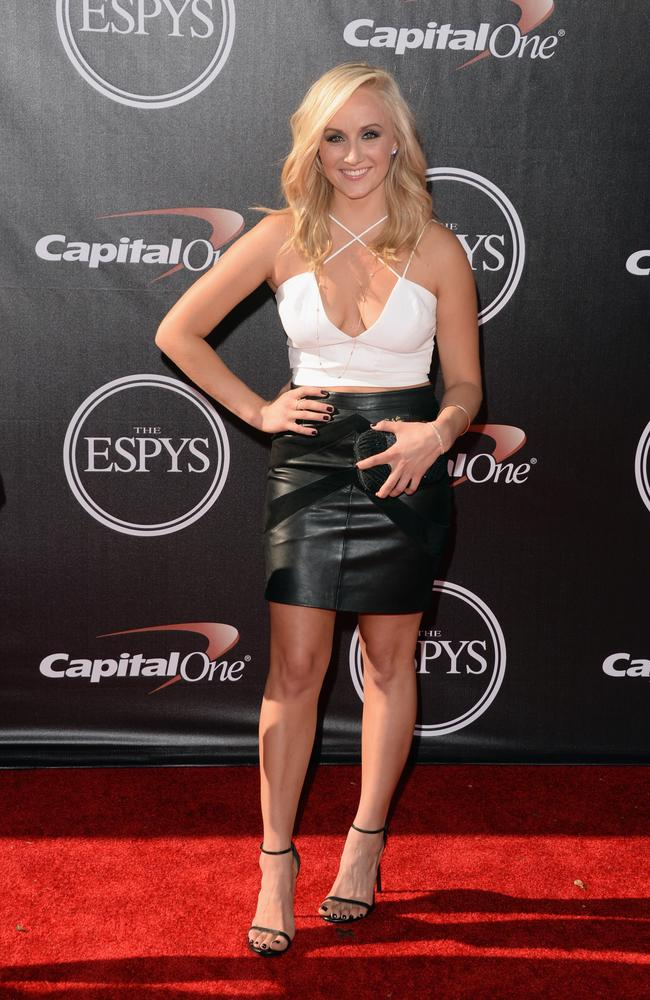 Gymnast Nastia Liukin. OK, this look we're not so sure about. But every ruby rug needs a dud.