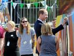 Duke and Duchess of Cambridge, Prince William and Duchess Catherine visited Elizabeth today, pictured at Northern Sound System doing some aerosol art. Picture: Naomi Jellicoe