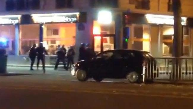 Terrifying ... footage has emerged of French police locked in a shootout with terrorists in Paris. Picture: Patrick Zachmann/YouTube