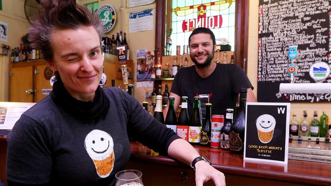 The Wheatsheaf Hotel is home to craft beers and small batch whiskies ... Jade Flavell and Dave Sciciuna are pictured at the bar. Picture: Simon Cross