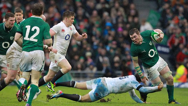 SIX NATIONS rugby, round 2: Ireland's flanker Peter O'Mahony evades a tackle from England's lock Geoff Parling in Dublin. Picture: Peter Muhly