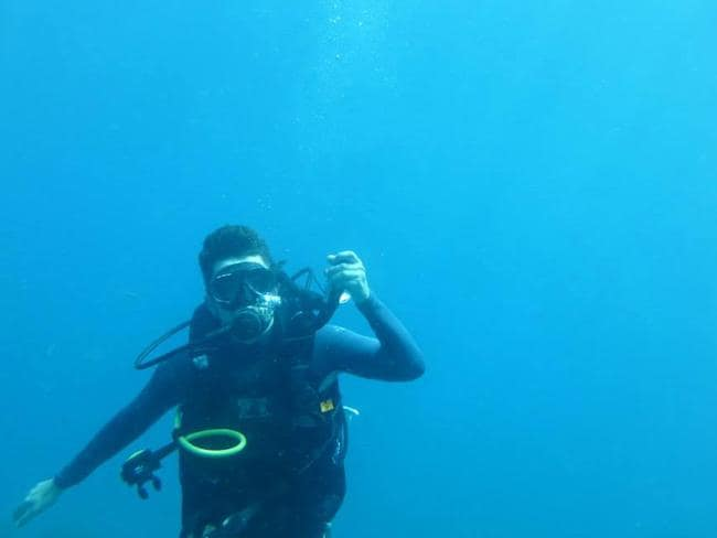 Tommy during a dive in Taganga, Colombia. Picture: Tommy Walker