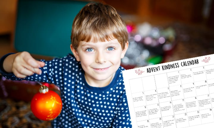 Kindness Advent Calendar to print for Christmas