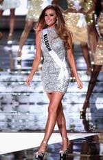 Miss Belgium 2015, Annelies Toros, walks onstage during the 2015 Miss Universe Pageant on December 20, 2015 in Las Vegas. Picture: Getty