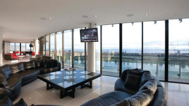 1903/578 St Kilda Rd, Melbourne. The Yve Building penthouse has an extensive entertainment space.