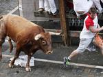 A participant runs ahead of a Miura bull after being gored in the thigh during the last bull-run of the San Fermin Festival in Pamplona, northern Spain on July 14, 2014. The festival is a symbol of Spanish culture that attracts thousands of tourists to watch the bull runs despite heavy condemnation from animal rights groups. AFP PHOTO / INAKI VERGARA