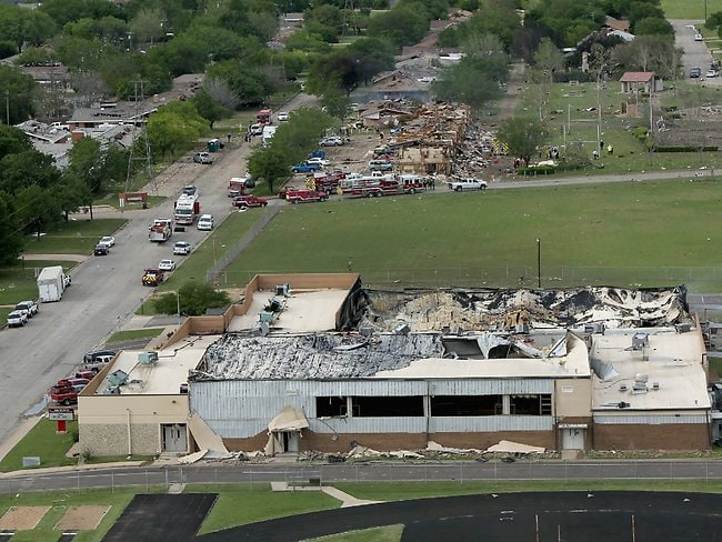 An explosion at the West Fertilizer Company destroyed the West Intermediate School a block away. Picture: Chip Somodevilla/Getty Images/AFP