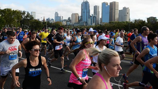 The CBD provided the perfect backdrop for Run for the Kids. Picture: Jake Nowakowski