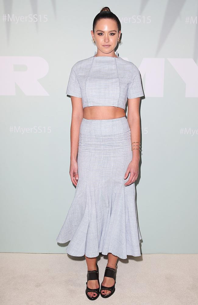 Jesinta Campbell arrives at the Myer Spring Summer 2014 Fashion Launch