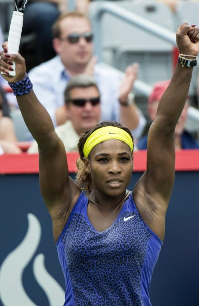 Serena Williams celebrates her victory over Caroline Wozniacki.