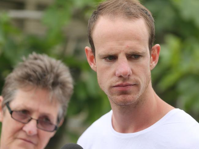 Chase Clarke has described the horrific moment he had to identify his wife's body.