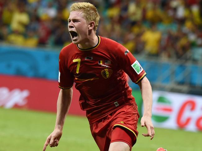 Belgium's midfielder Kevin De Bruyne celebrates after scoring during the first half of extra time.