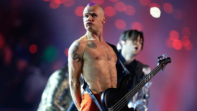 Flea of the Red Hot Chili Peppers performs during the Pepsi Super Bowl XLVIII Halftime Show at MetLife Stadium. Picture: Getty