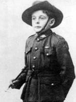 "French child refugee Henri Hemene Tovell known as ""Young Digger"", mascot of Aust army number 4 Squadron during WWI. world war one"