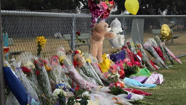 Floral tributes have been laid in Luke Batty's memory at the Tyabb oval. Picture: Alex Coppel