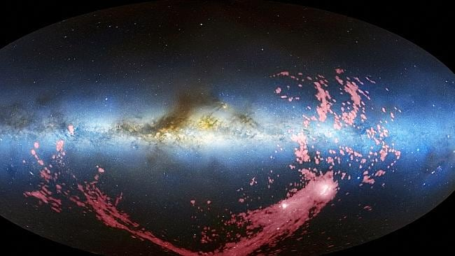 A long ribbon of gas called the Magellanic Stream, which stretches nearly halfway around the Milky Way. Gaia is hoping to get closer images than this. Picture: AFP