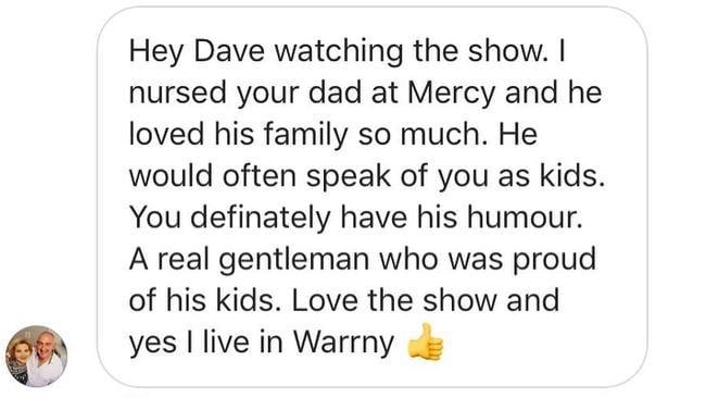 The touching private message Hughesy received on Instagram.