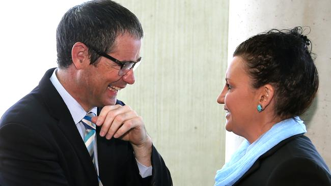 Say sorry ... Stephen Conroy (left) says Minister Johnston should apologise. Picture: Kym Smith/News Corp.