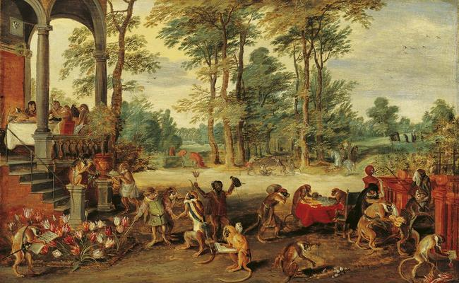 Satire on Tulip Mania, painted circa 1640, by Jan Brueghel the Younger, depicting the Dutch as monkeys getting excited over tulips.