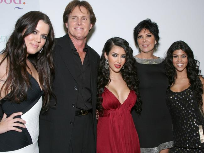 Khloe Kardashian, former Olympian Bruce Jenner, Kim Kardashian, Kris Jenner and Kourtney Kardashian in 2007. Picture: Getty