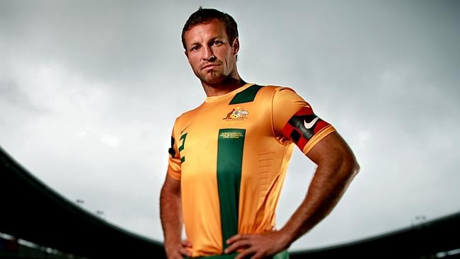 Lucas Neill in the captain's arm band ready to take on Costa Rica. Picture: Gregg Porteous