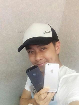 Leaked... Jimmy Lin with the supposed new iPhone 6. Picture: Weibo.com/DreamerJimmy