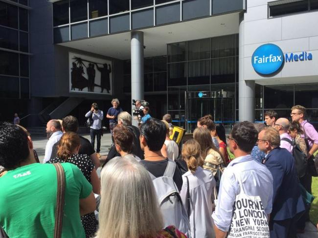 Fairfax journalists went out on strike this time last year after jobs were slashed in Sydney and Melbourne. Picture: Sophia Phan