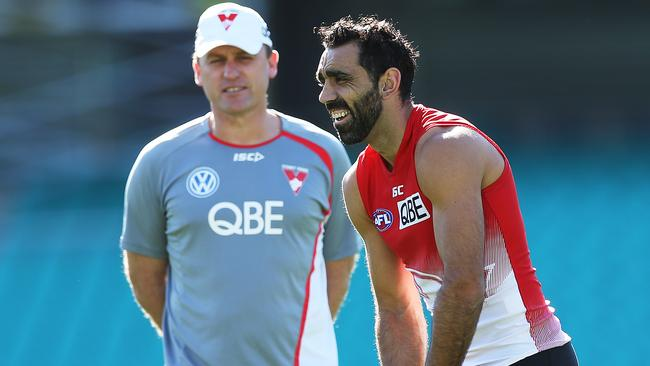 John Longmore watches over Adam Goodes at training. Picture: Phil Hillyard