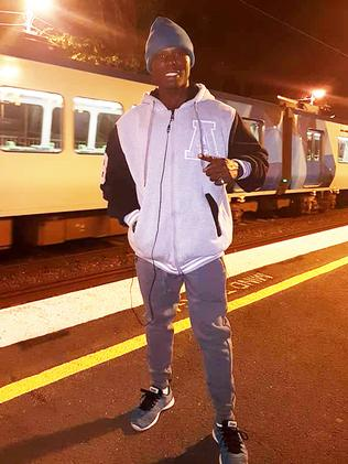 Boxer Simplice Fotsala pictured at a Melbourne train station.