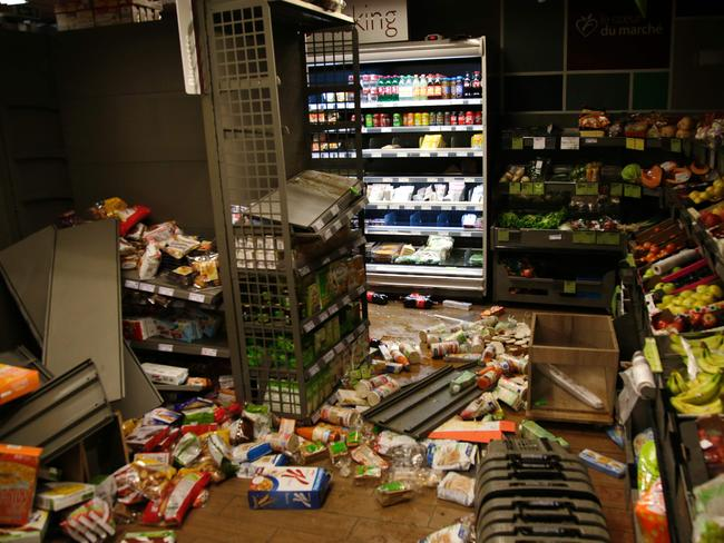 The inside of a vandalised supermarket during a protest in Bobigny. Picture: Geoffroy Van der Hasselt