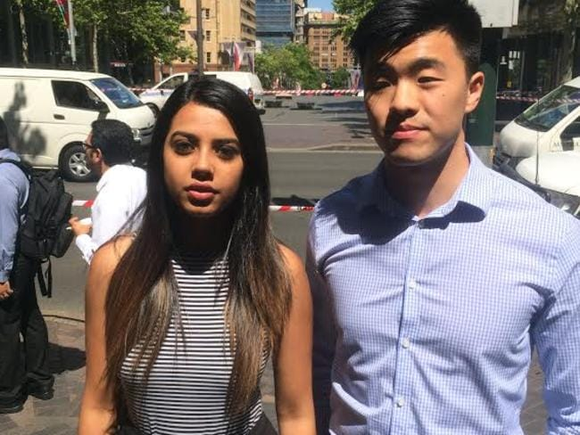 This is Aarushi Sharma and Jason Hung, workers who were forced to evacuate the Westpac building across the road from the siege. Proud, hardworking Australians, they can't believe the threat of terror has come to our streets.
