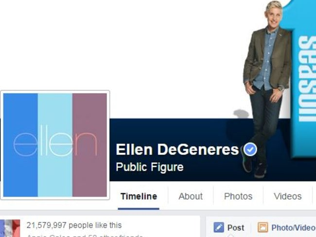 Ellen changed her display picture to the French flag feature. Picture: Facebook.