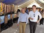 <p>Prince Harry speaks with the director of the OAS as they tour an art exhibition at the Belize-Guatemalan border of the OAS Adjacency zone.</p>  <p>Picture: Getty</p>