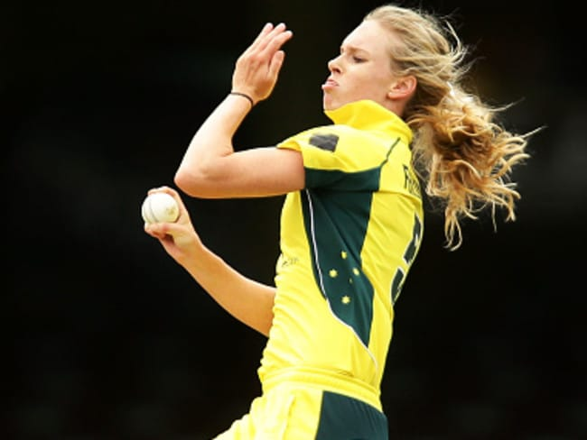 Holly Ferling in action for Australia against India.