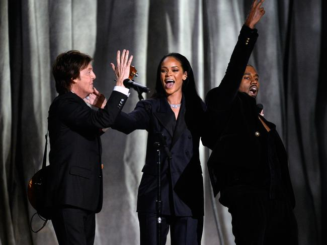 A true supergroup ... Paul McCartney, Rihanna and Kanye West perform FourFiveSeconds. Picture: Kevork Djansezian/Getty Images