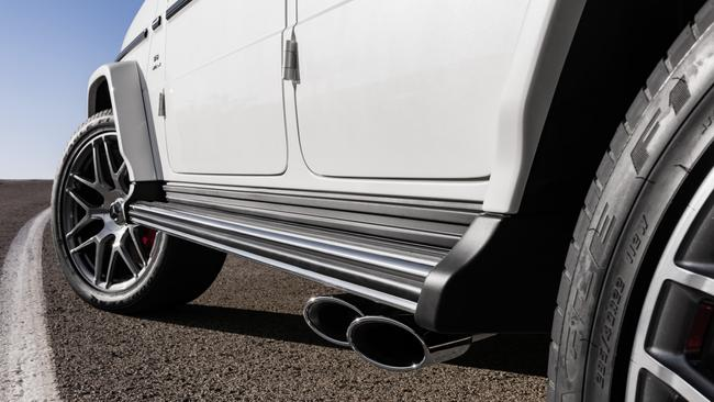 """All you need to know: old school exhaust outlets and tyres with """"F1"""" on the sidewalls. Picture: Supplied."""