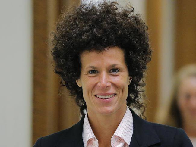 Accuser Andrea Constand exits the courtroom during deliberations in Bill Cosby's sexual assault trial. Picture: Lucas Jackson/Pool Photo via AP