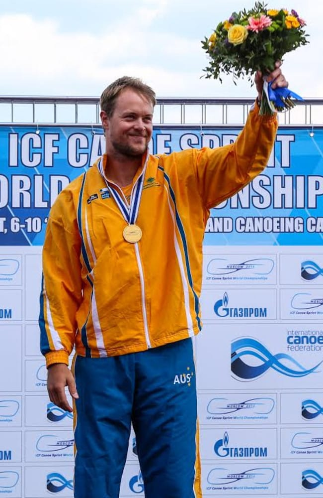 Curtis McGrath atop the podium. Picture: Balint Vekassy/ICF