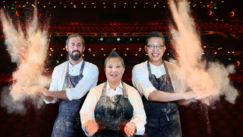 Chefs David Moy, Jerry Mai and Victor Liong will serve signature dishes as part of the Asia TOPA performing arts festival which runs until April. Picture: Rebecca Michael