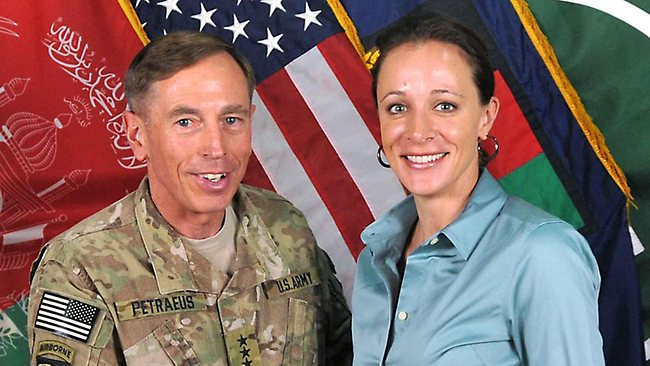 General David Petraeus poses with his biographer Paula Broadwell in Afghanistan.