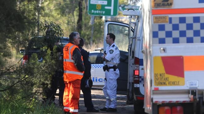 Police on Avon Dam rd Bargo where the car Steven Hume was driving was found dumped.