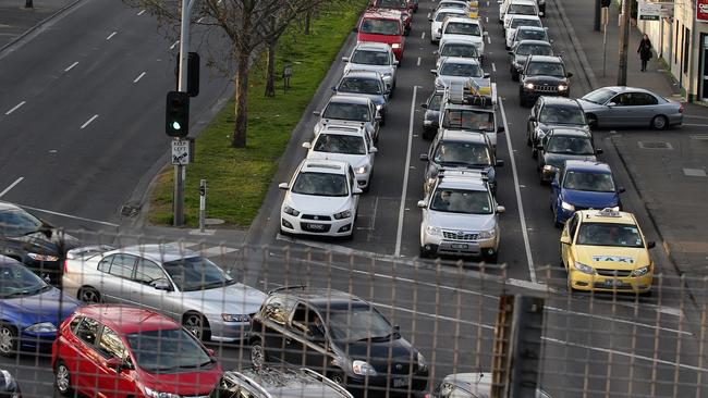 Traffic congestion along Hoddle St and Punt Rd. Picture: Andrew Tauber
