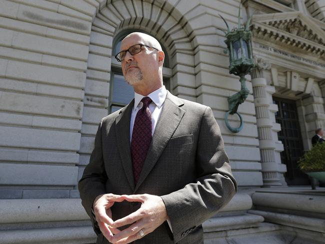 Jeffrey Kerr, general counsel to the People for the Ethical Treatment of Animals (PETA), speaks to reporters outside of court. Picture: Jeff Chiu