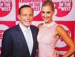 """TV presenter Laura Csortan casually hanging out with the PM at a function in Sydney. """"Wonderful night at @dailytelegraph #fairgowest #championsofthewest event with Tony Abbott! So many inspiring people. It made me very proud to have grown up in Greystanes! Thanks for having me @jmoconfidential @sydconfidential and @yeojinbae @myer for my dress xx."""" Picture: Instagram"""